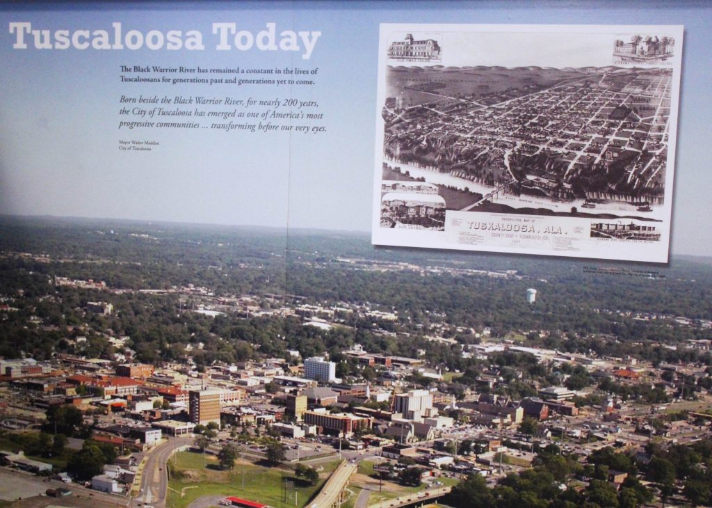 historic and current aerial views of Tuscaloosa
